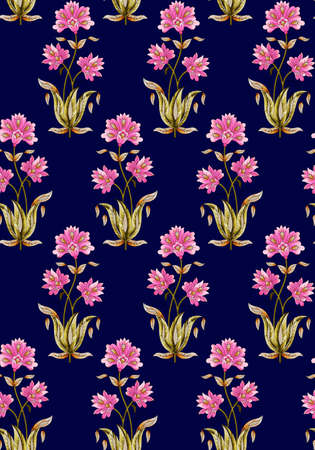 seamless mughal floral pattern with navy background