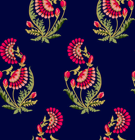 mughal flower motif navy background Stock Photo