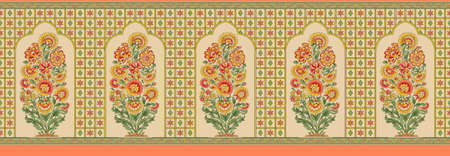 indian mughal flower border