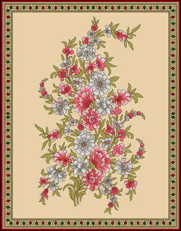seamless Indian mughal flower motif