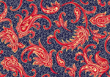 motif cachemire antique sans couture avec fond marine