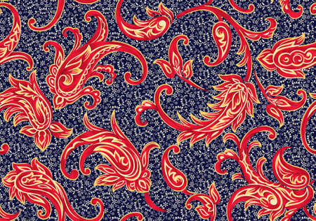 seamless antique paisley pattern with navy background