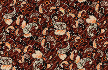 seamless antique paisley pattern with orange background