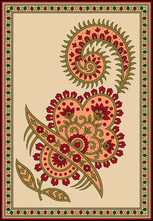 seamless Indian mughal traditional flower motif