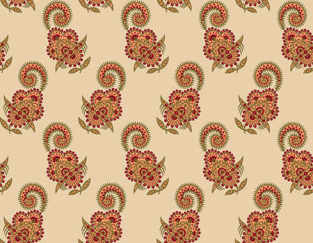seamless Indian mughal traditional flower motif pattern Stock Photo