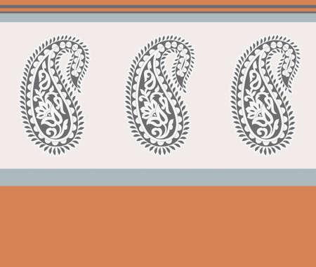 indian paisley design border background Stock Photo