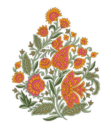 seamless Indian mughal flower motif background Stock Photo