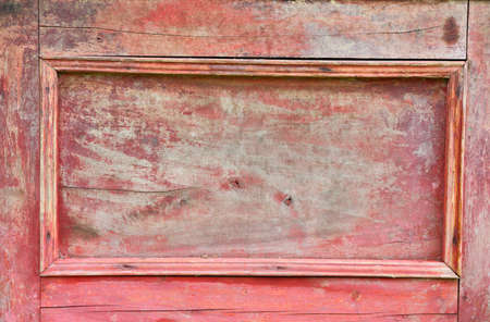 Vintage red wood sideboard door