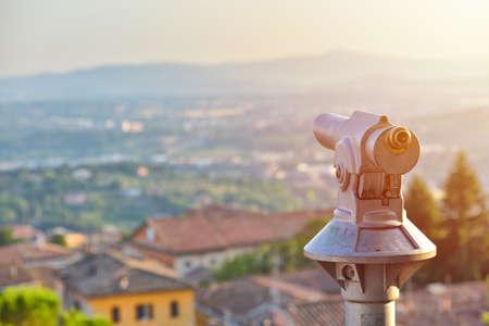 Tourist telescope eyepiece. Travel tourist destination landscape magnification