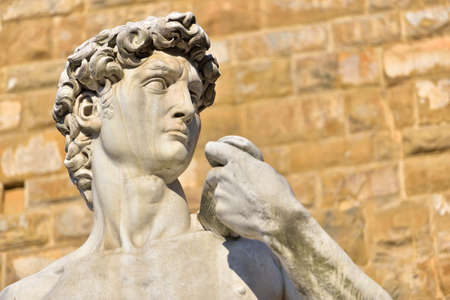 The statue of David by Michelangelo Bunarroti at Piazza della Signorria in Florence, Italy