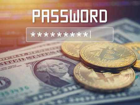 Password input on blurred background screen. Password protection against hackers.