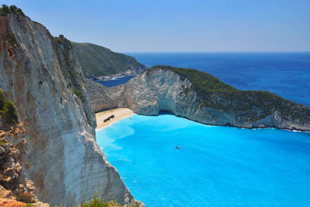 Famous shipwreck bay, Navagio beach, Zakynthos island, Greece. One of the most popular places on the planet