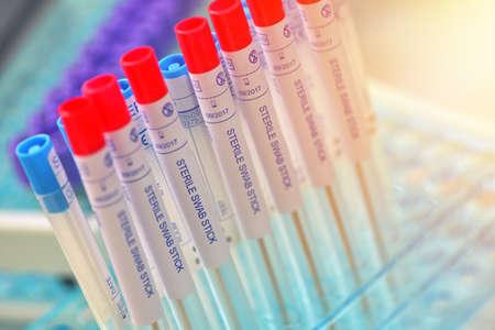 Sterile test swap tubes for taking sample of throat diseases Stockfoto