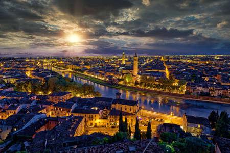 Panoramic aerial view of Verona, Italy at summer sunset Banco de Imagens