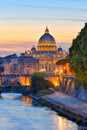 Wonderful view of St Peter Cathedral, Rome, Italy. Sunset light.