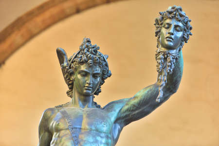 Ancient style sculpture of Perseus with the Head of Medusa in Florence, Italy