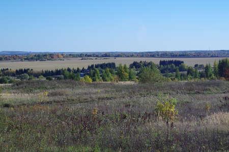 far: Rural autumn landscape field, far horizon