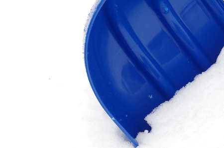 stu: The blue plastic snow shovel stuck in the snow