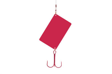 fishhook: Credit card with fishhook isolated red color Stock Photo