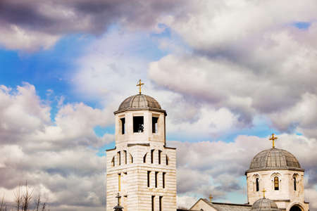 bell tower: bell tower of orthodox church against cloudy sky Stock Photo