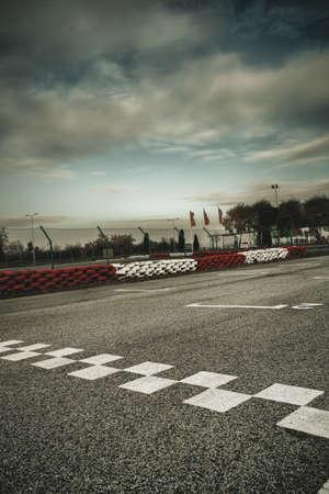 race track: empty motor speedway  closeup