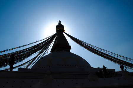 the famous buuha eye gazing out sleepily from each side of the tower are those of the all seeing primordial buddha.perched a top a hill on the western edge of the kathmandu valley. Standard-Bild