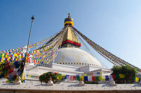primordial: the famous buuha eye gazing out sleepily from each side of the tower are those of the all seeing primordial buddha.perched a top a hill on the western edge of the kathmandu valley. Stock Photo