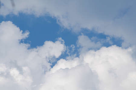 sihouette: blue sky have cloud in winter season ,thai land ,have feeling happy , and sihouette style