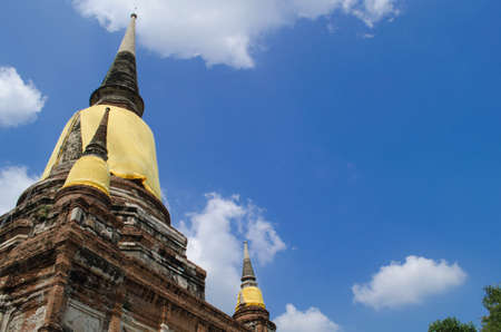 Wat Yai Chai Mongkol obviously is one of the major temples in the Ayutthaya area . and features a large Stupa, built after King Naresuans Victory Stock Photo