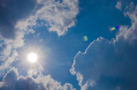blue sky have cloud in winter season ,thai land ,have feeling happy