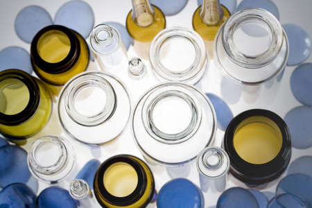 Top view of pharmaceutical vials