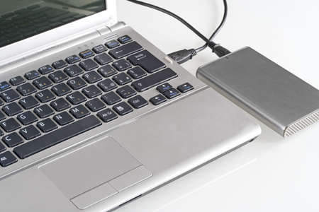 Laptop with hard disk Stock Photo
