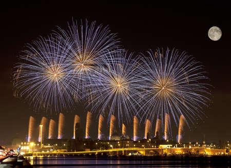 Firework celebration Redentore  Venice, Italy   Stock Photo