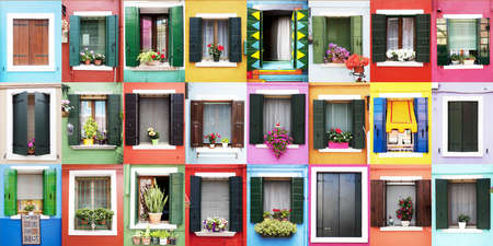 Burano windows Banque d'images