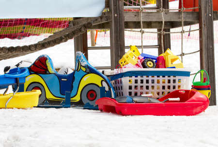 Toys and snow Stock Photo