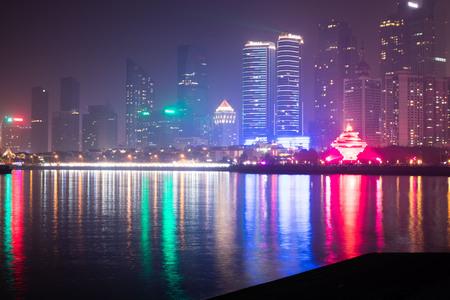 skyline of Qingdao city at night