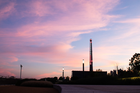 evening sky at riverside running track Imagens