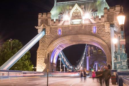 On the Tower Bridge at night