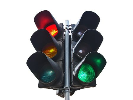 allow: double traffic-light isolated  on white Stock Photo