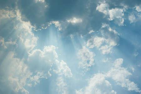 sunbeams: Beautiful cloudscape with sunbeams Stock Photo