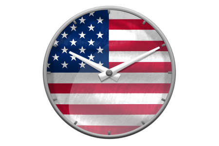 USA flag on wall clock reads ten past ten oclock bird wings symbol for freedom concept