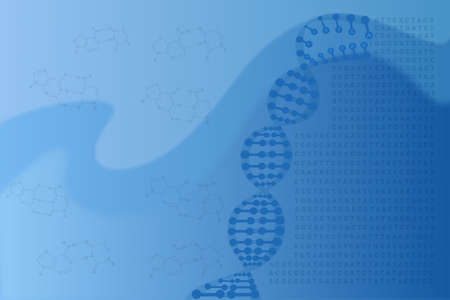 diagnose: Abstract medical background with DNA helix concept, genetic code and chemical structure Stock Photo