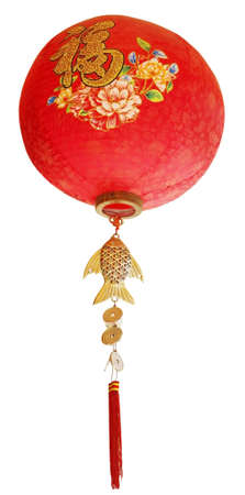 auspicious element: Oriental Chinese new year ornaments for decoration on white background