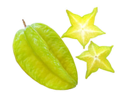 star path: Organic fresh star fruit on white background, clipping path included
