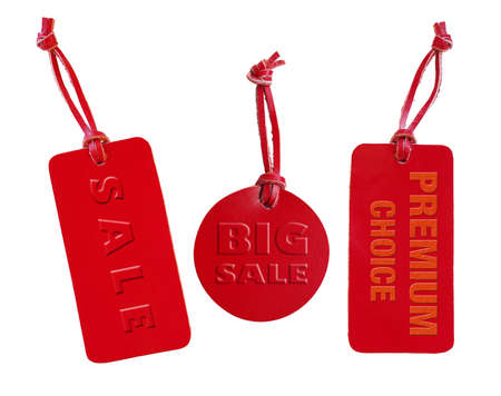 emboss: Red leather sale tag set, emboss words