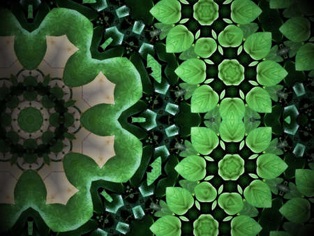 heart shaped: Abstract greenery background, heart shaped green leaves with kaleidoscope effect. Stock Photo