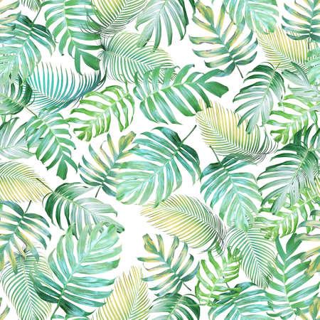 Tropical leaves seamless pattern of Monstera philodendron and palm leaves in light green-yellow color tone, tropical background. Banco de Imagens - 77957861