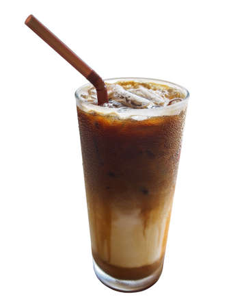 condensed: Refreshing cold coffee latte with condensed water droplets on glass surface isolated on white background, clipping path included. Stock Photo