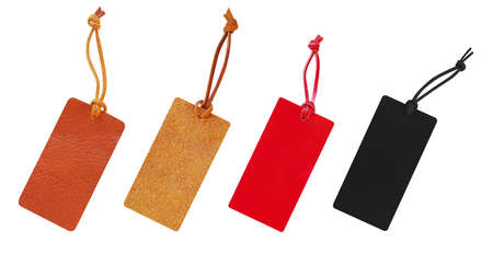 Leather tags with leather cord set, price tag for christmas, new year and black friday sale isolated on white background, clipping path included. Stock Photo