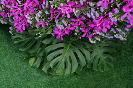 Green leaves of Monstera and fern foliage plants with pink violet orchids and purple aster flowers bunch floral arrangment, nature tropical backdrop on artificial grass green background. 스톡 콘텐츠